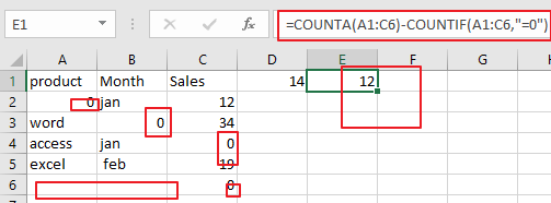 count number of cell with non-zero2