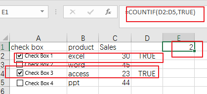 count or sum cells with checked box4