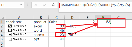count or sum cells with checked box5