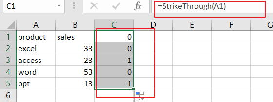 filter data with strikethrough format12