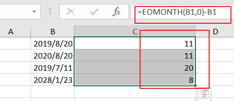 calculate remaining days4
