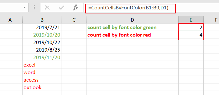count cells by font color1