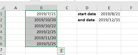 highlight dates between two dates1