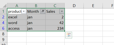 paste cells into filtered column or row1