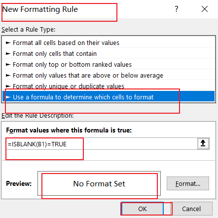 remove conditial formatting on blank cell3
