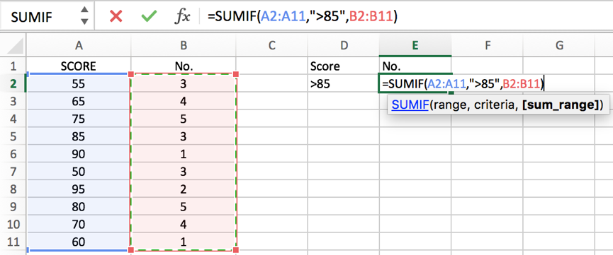 How to COUNT and SUM greater than and less than a number in Excel 10