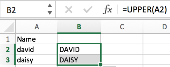 How to convert text case into uppercase or lowercase in Excel 4