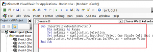 How to insert cell value into header or footer in Excel5