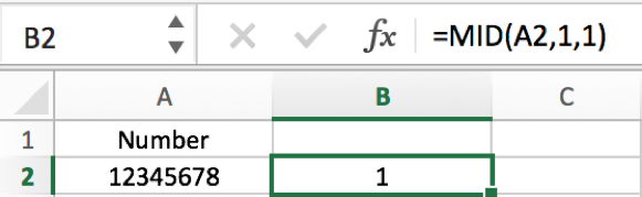 How to split number into each individual digit in columns in Excel 2