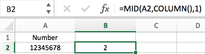 How to split number into each individual digit in columns in Excel 3