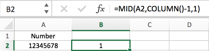 How to split number into each individual digit in columns in Excel 4