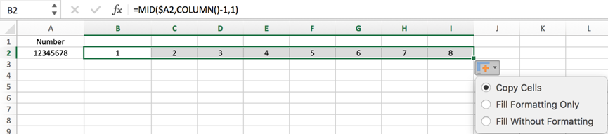 How to split number into each individual digit in columns in Excel 5