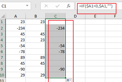How to split numbers into two columns with negative and postive in excel2