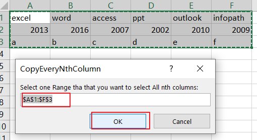 Select and Copy Cell Values from Every Nth Column in Excel3