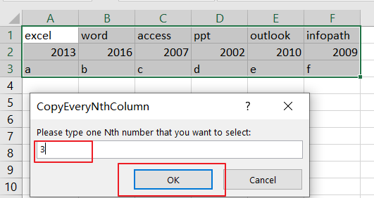 Select and Copy Cell Values from Every Nth Column in Excel4
