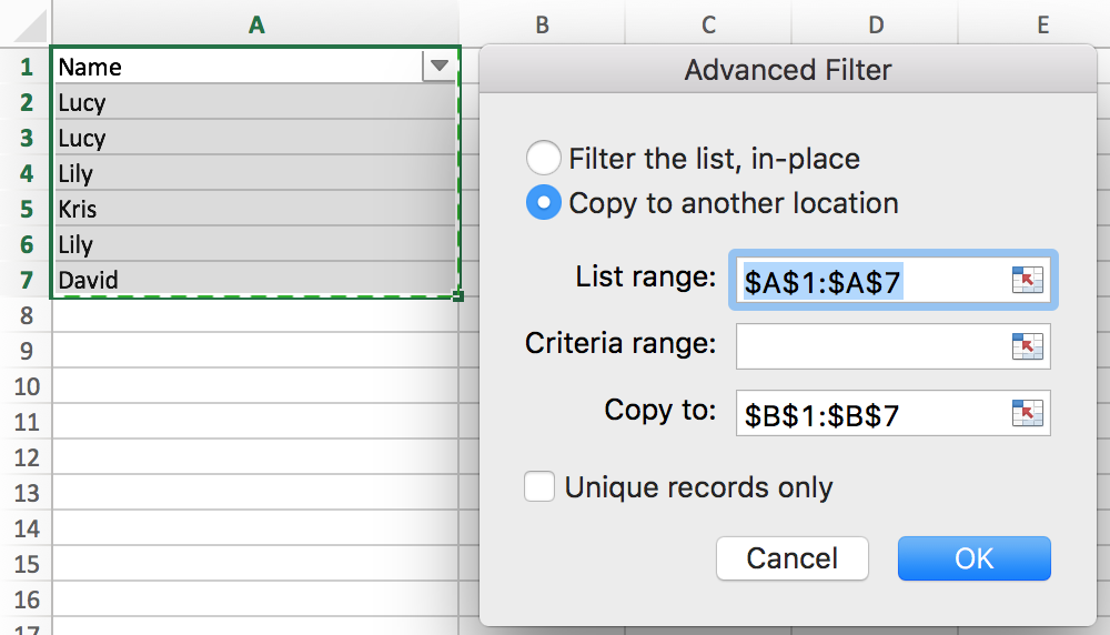 How to extract unique values from list and remove the duplicates in Excel 4