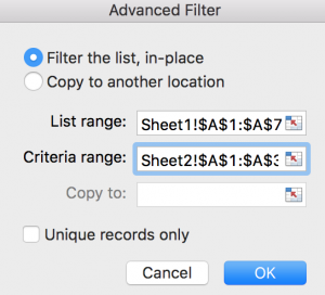 Filter Data from One Sheet 7
