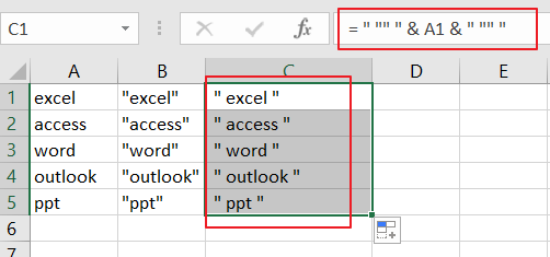 Add Quotes around Cell Values3