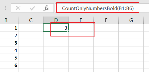 Count Only Numbers in Bold in a Range of Cells2