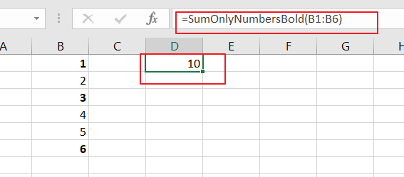 Sum Only Numbers in Bold in a Range of Cells3