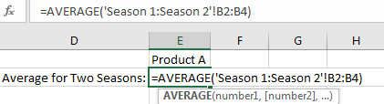 Calculate Average among Multiple Different Worksheets 4