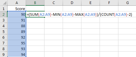 Calculate the Average Excluding the Smallest & Highest 2