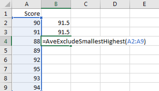 Calculate the Average Excluding the Smallest & Highest 9
