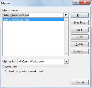 Create Shortcut to Go Back to Previous Worksheet 6