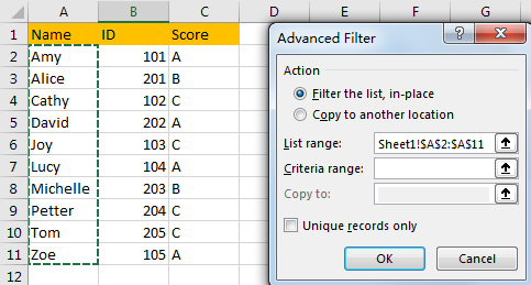 Filter Data Based on Another List 13