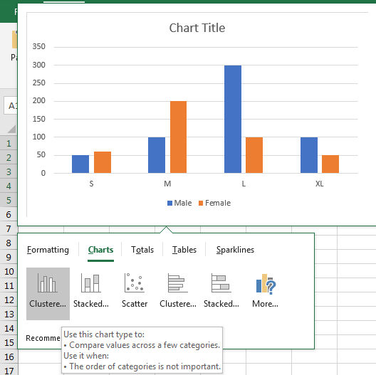 Insert A Chart with Data lists in Different Range 3