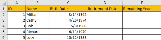 Calculate Retirement Date 1