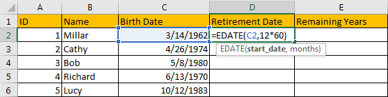 Calculate Retirement Date 2