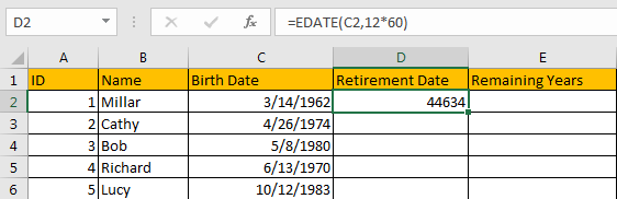 Calculate Retirement Date 3