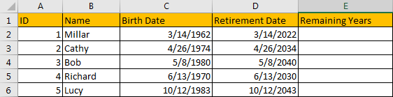 Calculate Retirement Date 6