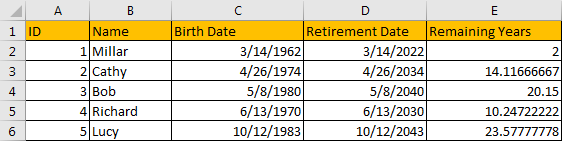 Calculate Retirement Date 9