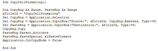 Copy Cell Formatting to Another Range 8