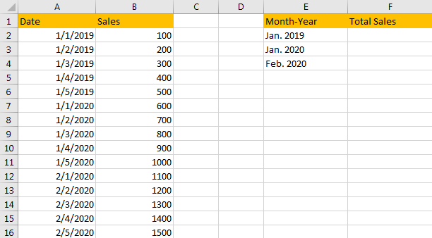 Sum Values Based on Month 1