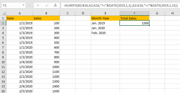 Sum Values Based on Month 3