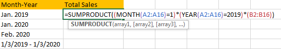 Sum Values Based on Month 5