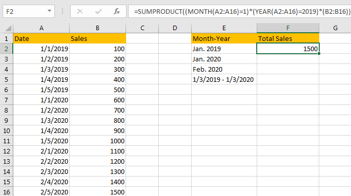 Sum Values Based on Month 6