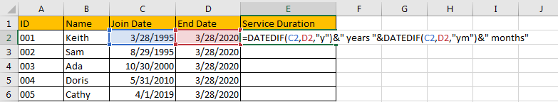 Calculate the Length of Service 2