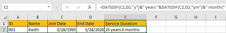 Calculate the Length of Service 3