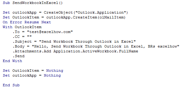 Send Workbook Outlook 4