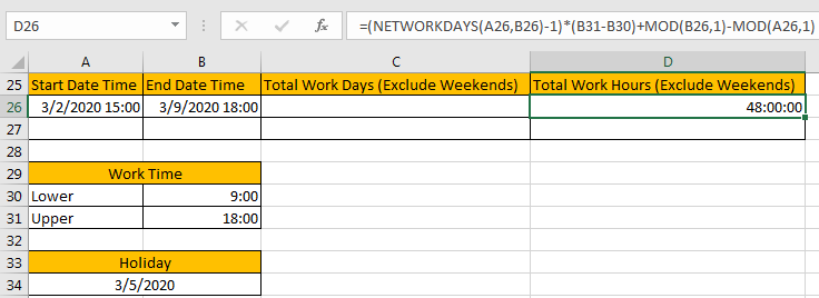 Calculate Total Work Days or Hours 14