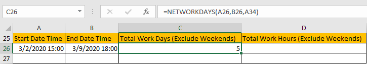 Calculate Total Work Days or Hours 8