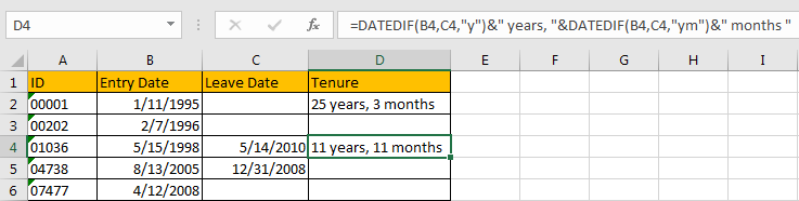 Calculate the Tenure 9