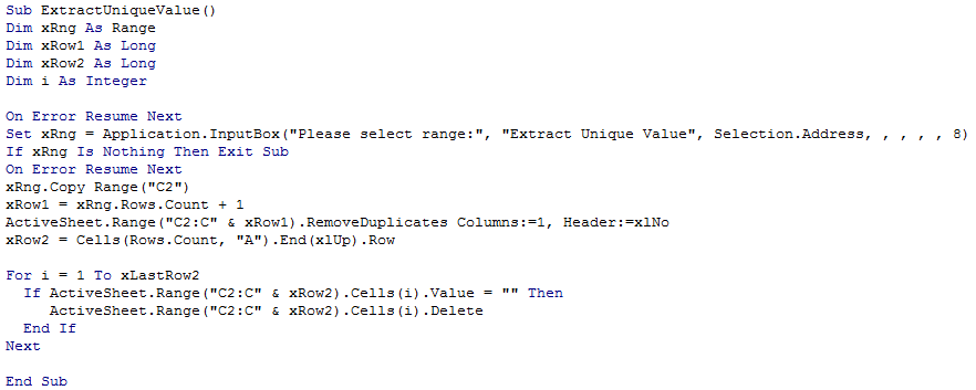 Dynamically Extract Unique Values6