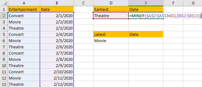 Find the Earliest and Latest Date 2