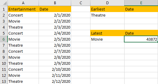 Find the Earliest and Latest Date 7