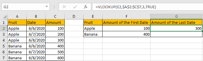 Use VLOOKUP to Find The First or Last 7